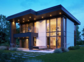 """Проект дома с панорамными окнами """"Буден"""" фасад 1"""