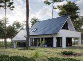 "Проект дома с мансардой и гаражом на 2 авто ""Варберг"" фасад 1"