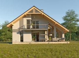 """Проект дома с мансардой """"Бурос"""" фасад 1"""