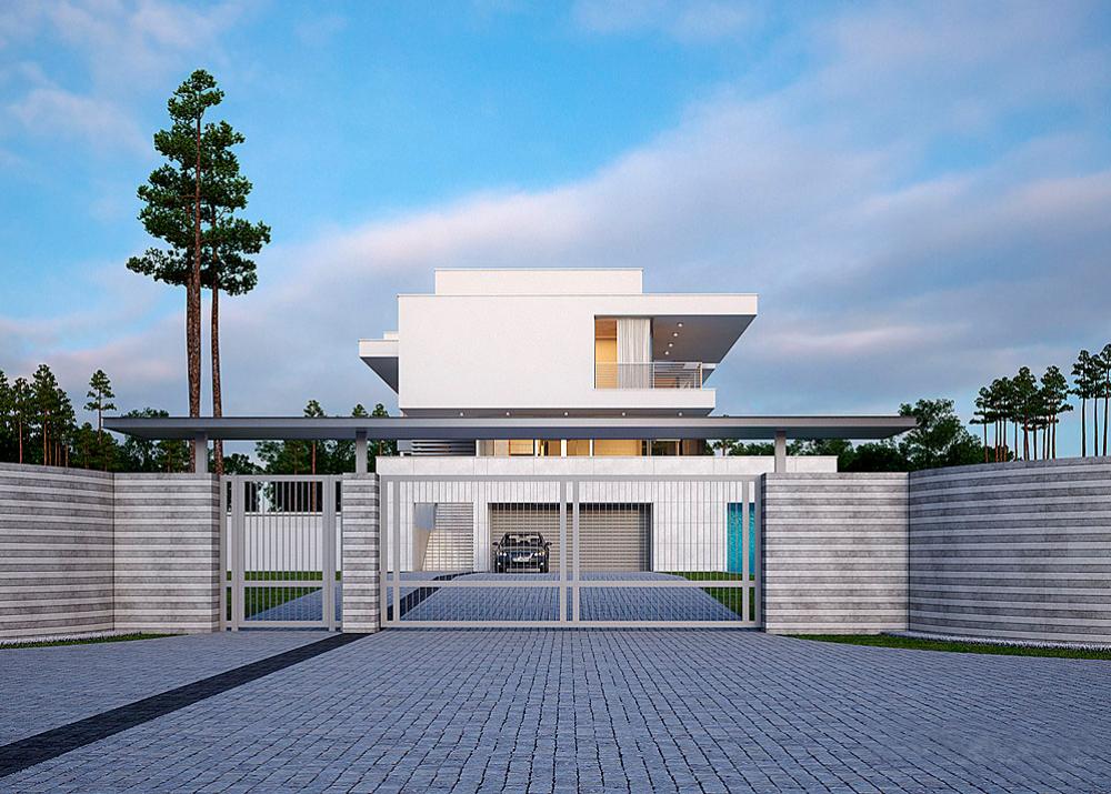 """Проект особняка с бассейном и сауной """"Ландскруна"""" фасад 5"""