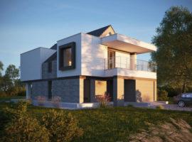 "Проект двухэтажного дома c гаражом на 1 авто ""Лахольм"" фасад 1"