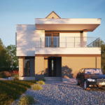 "Проект двухэтажного дома c гаражом на 1 авто ""Лахольм"" фасад 2"