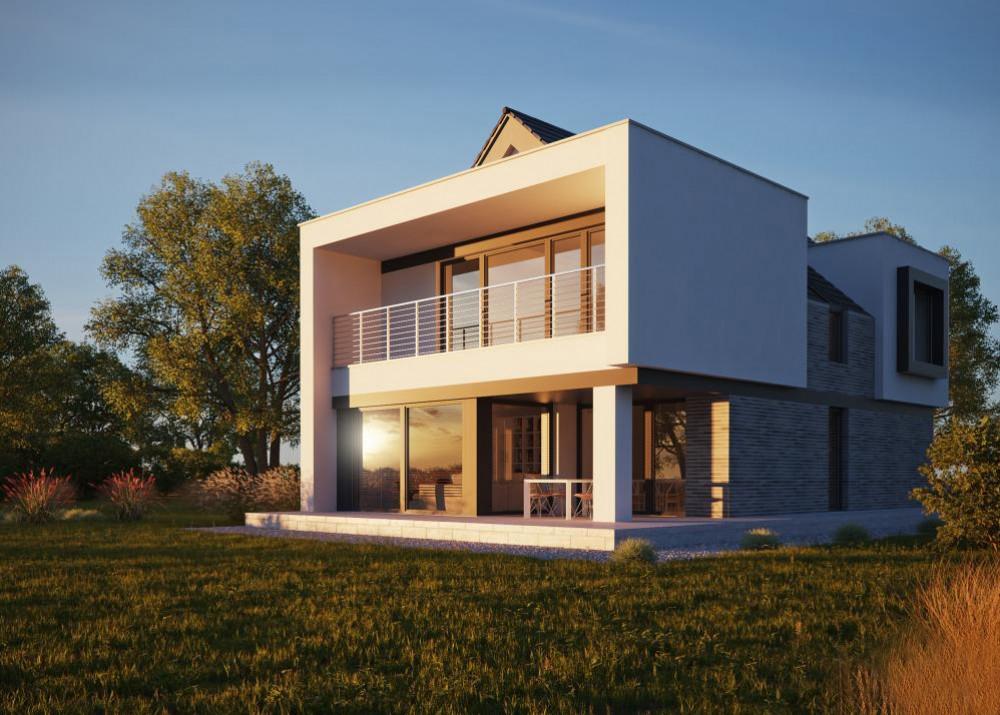 "Проект двухэтажного дома c гаражом на 1 авто ""Лахольм"" фасад 3"