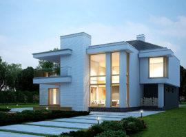 "Проект дома с панорамными окнами ""Сандвикен"" фасад 1"