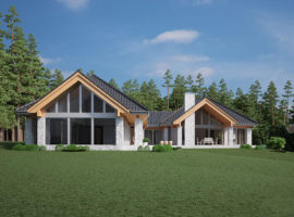"Проект одноэтажного дома с бассейном ""Тимро"" фасад 1"