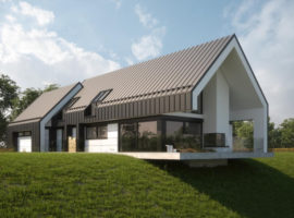 """Проект дома в стиле Barnhouse """"Лулео"""" фасад 1"""