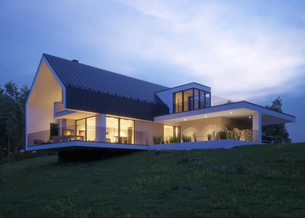 "Проект дома с гаражом на 2 авто ""Мутала"" фасад 3"