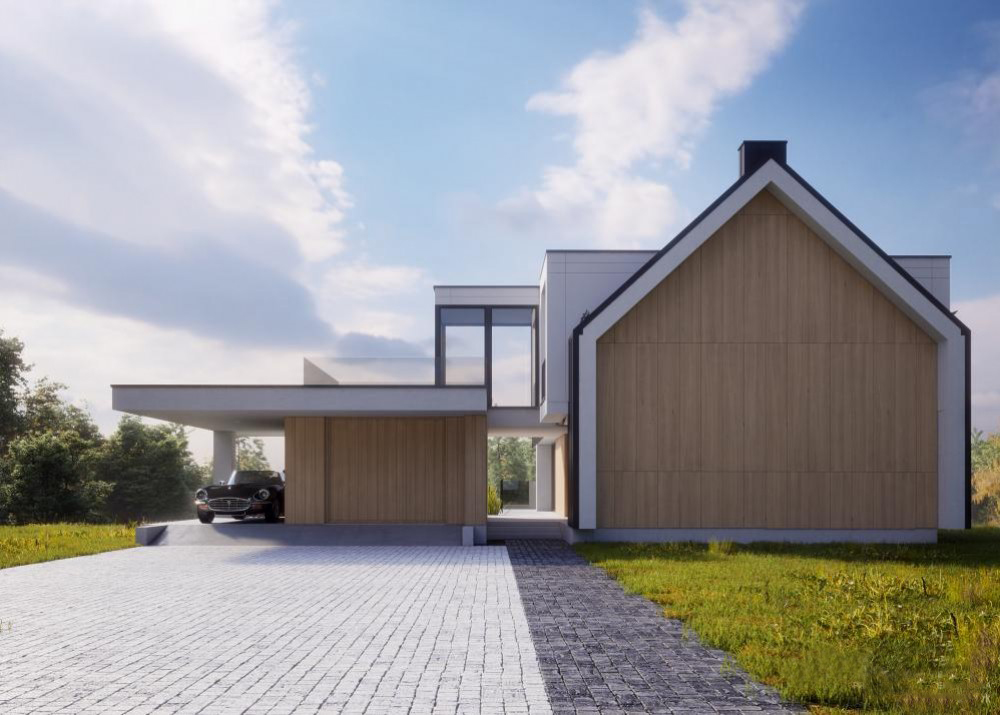 "Проект дома с гаражом на 2 авто ""Мутала"" фасад 5"